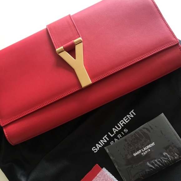 953d430ce9a Yves Saint Laurent Bags | Nwt Ysl Clutch Classic Y Red | Poshmark